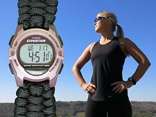 NEW! Women's Timex Expedition Digital Watch w/ Handmade Paracord 550 Watch Band