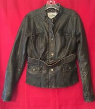 GUESS Faux Leather Jacket Brown Women's Junior XL Bomber Coat Winter Worn Look
