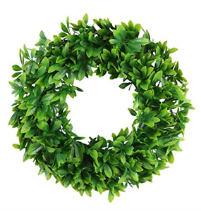BOXWOOD WREATH Artificial Green Leaves for Front Door Wall Window Decor AONEWOE