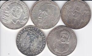 LOT DE 5 PIECES DE 100 FRANCS COMMEMORATIVES DIFFERENTES