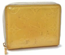Auth Louis Vuitton Vernis Broome Zip Wallet Yellow LV A8306
