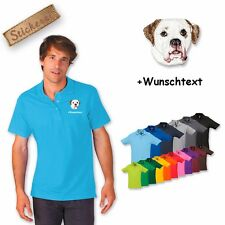 Polo Shirt Shirt Cotton Embroidered American Bulldog + Text of Your Choice