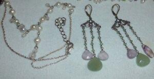 Sterling Silver Necklace Earrings Pearl Amethyst Peridot Chalcedony