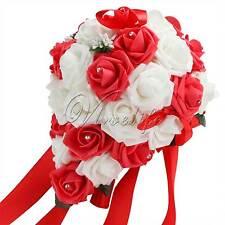 Wedding Bridal Bouquet Flowers Rose Teardrop Crystal Party Home Bridesmaid Decor