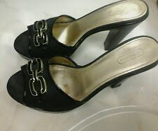 COACH SLIDES, SHOES, SANDALS,  BLACK, HI HEELS, BRASS HARDWARE,