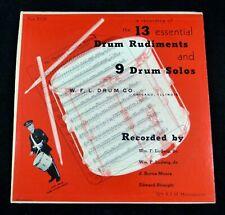 """13 Essential Drum Rudiments & 9 Drum Solos Ludwig Drum Co. Chicago 10"""" LP 33rpm"""