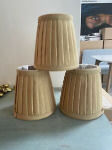 3 gold mustard pleated small lampshades