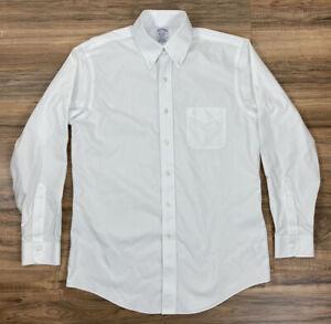 Men Brooks Brothers Regent supima cotton white button up dress shirt, 15-33