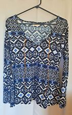 Bobbie Brooks Black white Blue Long Flare Sleeve Blouse W/ Tie neck Small  A92
