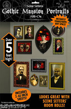 HALLOWEEN GOTHIC MANSION PORTRAITS SCENE SETTER HORROR PARTY WALL DECORATION