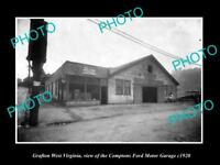 OLD LARGE HISTORIC PHOTO OF GRAFTON WEST VIRGINIA, THE FORD MOTOR GARAGE c1920