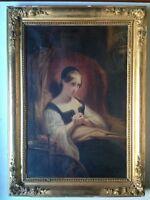 Ary SCHEFFER D'après, Marguerite au Rouet de GOETHE Huile toile XIXe A restaurer
