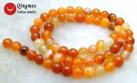 """6mm Round Orange Stripe Agate Beads for Jewelry Making Necklace Strand 15""""-610"""