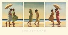 Summer Days by Jack Vettriano Art Print Poster Umbrella Beach Ocean 27.5x14.25