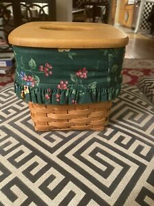Longaberger Tall Tissue Basket with Longaberger Lid & Cloth Liner