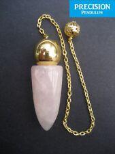 Solid Egyptian Rose Quartz Gemstone Precision Pendulum w/ Chain Crystal Healing