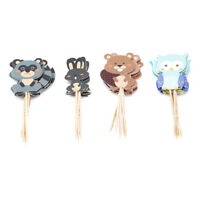 Baby Shower Party Cake Decor Woodland Creatures Cupcake Toppers Picks LI