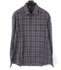 Pronto Uomo Blue Men's Dress Shirt Plaid Size XL Button Front 100% Cotton