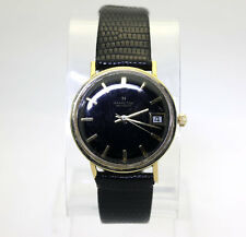 Vintage Hamilton Masterpiece mens watch 14K yellow gold blk lizard strap 33.3 MM