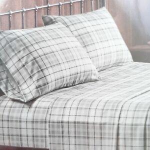 King Size Sheet Set Gray Plaid Microfiber Fits 16 Inch Mattress