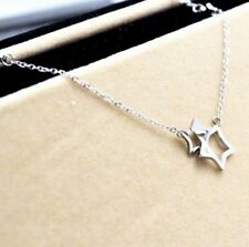 Rose Gold Silver Titanium Stainless Steel Cross Star Pendant Necklace Gift PE6