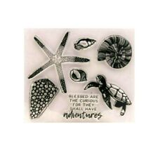 Turtle Starfish Shell Sentiment  Clear Rubber Stamps Seal Silicone Cards