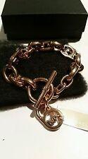 Michael Kors Rose Gold Tone Chain Padlock Toggle dangle charm logo Bracelet NEW