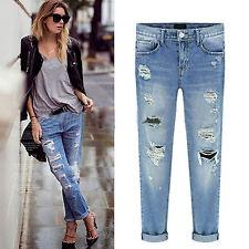 Women's Distressed Ripped Denim Pants Destroyed Boyfriend Jeans Skinny Trousers