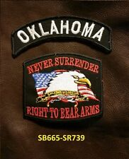 OKLAHOMA and NEVER SURRENDER Small Patches Set for Biker Vest Jacket