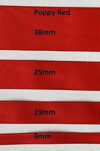Grossgrain Ribbon - 9mm - 19mm - 25mm - 38mm - Poppy Red