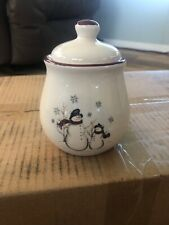 Royal Seasons Stoneware Snowman Sugar Bowl with Lid Christmas Holiday