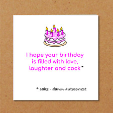 BIRTHDAY CAKE card funny humorous girl female friend rude adult naughty fun sexy