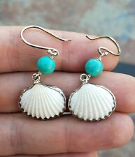 925 STERLING SILVER SEA SHELL TURQUOISE EARRINGS