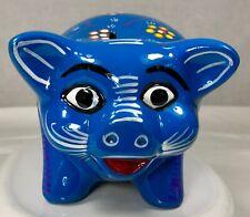 Talavera Mexican Pottery Bright Blue Coin Piggy Bank Ceramic Folk Art Mexico