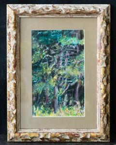 "Jeffery Boys Impressionist Pastel On Paper ""Forest Scene"" Signed Verso"
