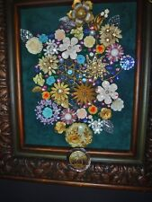 Vintage Jewelry Art Bouquet, Framed & Signed