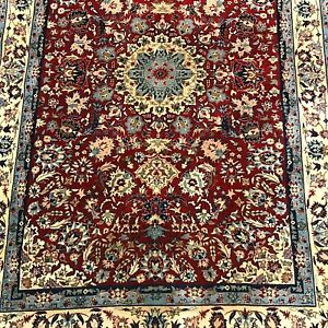 Antique Isfahann Hand Made Wool Carpet 4' by 6'3""