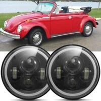 """7""""inch Black LED Headlights Upgrade Hi/Low Beam Round fit for VW Beetle Classic"""
