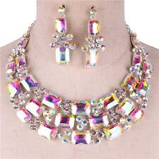 Aurora Borealis Square Round Crystal AB Rhinestone Bridal Evening Necklace Set