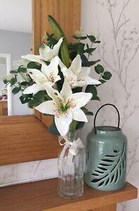 Artificial Flower Lily And Eucalyptus Luxury Arrangement & Glass Vase