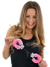 BRIDE TO BE GIFT NOVELTY PINK FLUFFY HANDCUFFS WITH DIAMANTE BLING, HEN PARTY