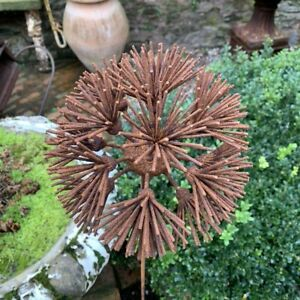 Rusty Metal Allium Flower Garden Stake Charm, Rustic Wire Climbing Plant Support