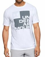 Under Armour Mens T-Shirt Classic White Size XL Graphic Box Logo Tee $25- #245