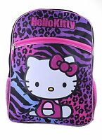 Hello Kitty Animal Print School Backpack Leopard Zebra Purple Blue Pink Black