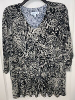 Susan Graver black and beige paisley liquid knit tiered top Size Small CAREER