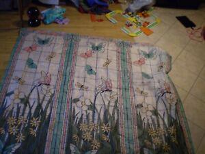 "Shower Curtain Set Waterproof CLEAR PLASTIC WITH FLOWER Butterfly Garden 72"""