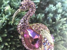 Crystal Rhinestone Flamingo Bird Brooch Pin Women Fashion Jewelry Pink Gold Tone