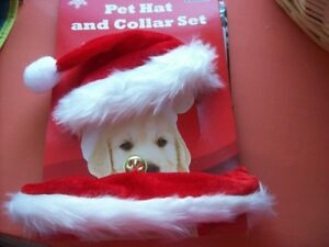 Christmas Hat & Collar Dog Cat With Bell Set Red Small Pet Novelty Early Bargain
