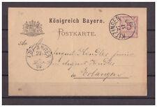Bayern, Ganzsache P 34 / 05 Kitzingen nach Erlangen 27.12.1889