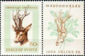 """HUNGARY - 1966 - Hunting Trophies - """"Roe Deer"""" - MNH Attached Label - Sc. #1783A"""